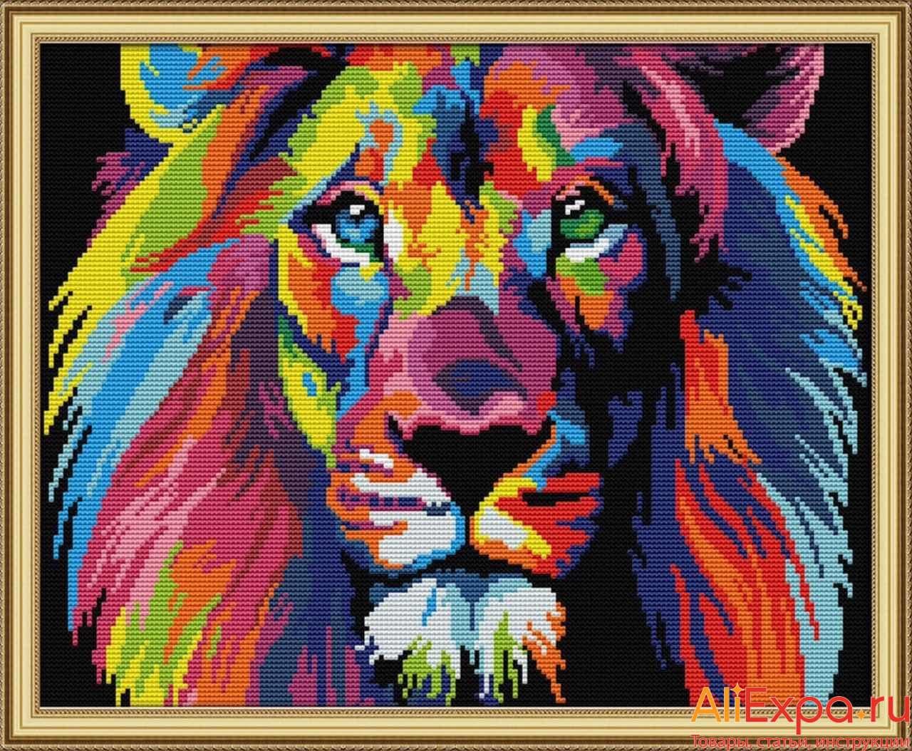 Яркая вышивка крестом со львом купить на Алиэкспресс