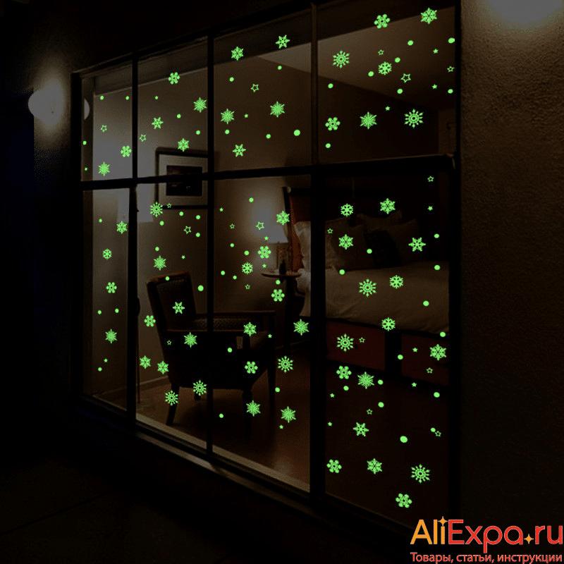 Новогодние светящиеся наклейки на окна купить на Алиэкспресс