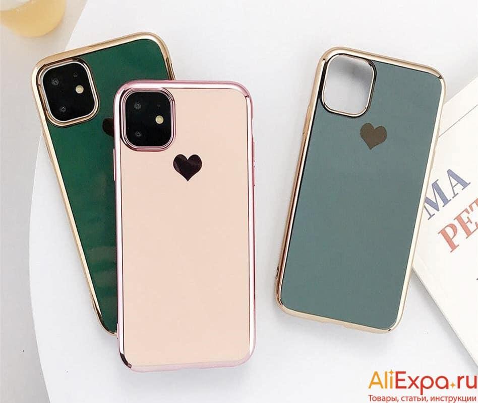 Чехол для iPhone с сердечком купить на Алиэкспресс
