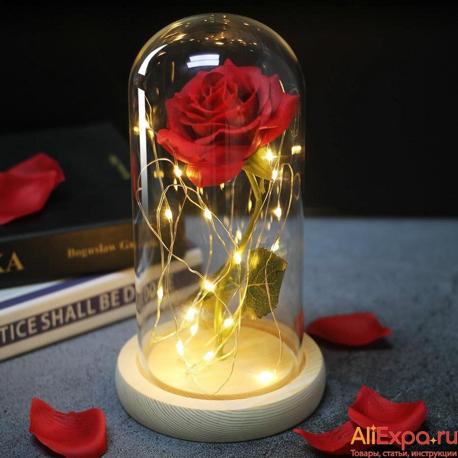 Роза в колбе с подсветкой купить на Алиэкспресс